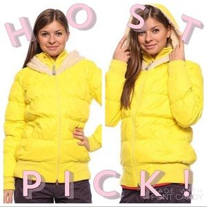OAKLEY Ember Yellow Sherpa Hood GB Puffer Jacket M